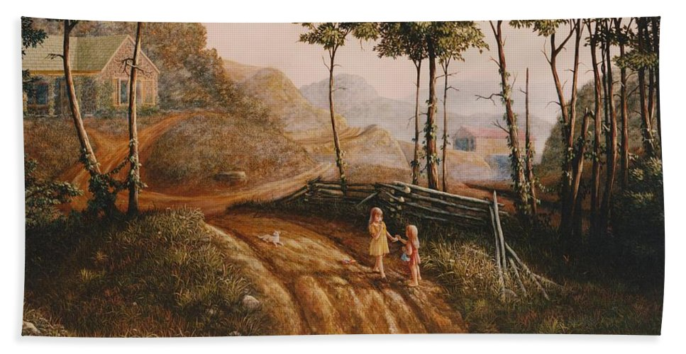 Country Bath Sheet featuring the painting A Country Lane by Duane R Probus