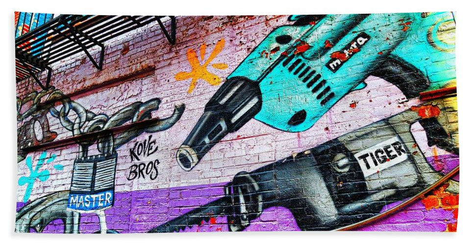 urban Street Photography Mural Graffiti Hand Towel featuring the photograph A Man's Tools by Diana Angstadt