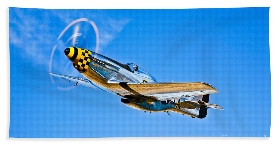 Horizontal Bath Sheet featuring the photograph A North American P-51d Mustang by Scott Germain