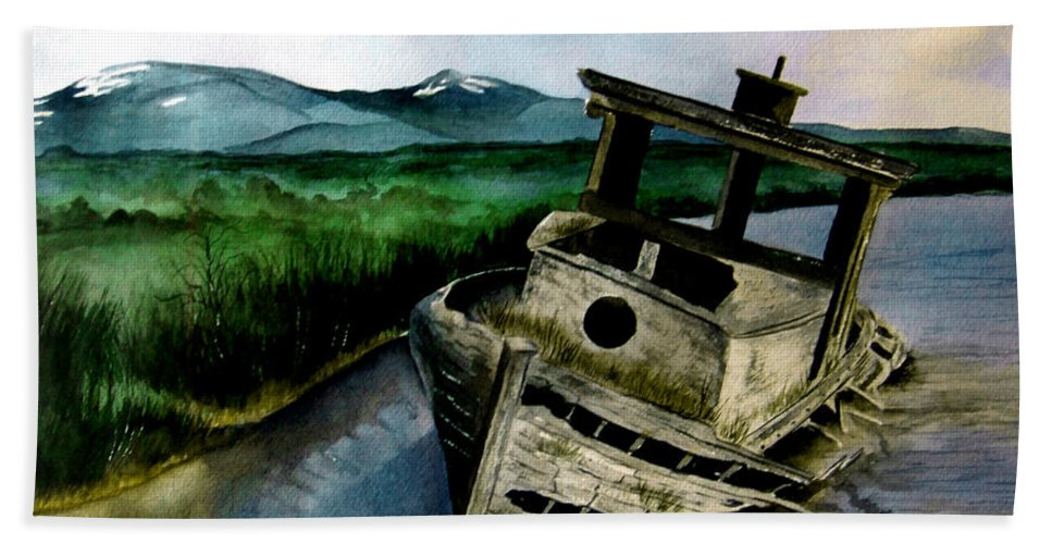 Watercolor Hand Towel featuring the painting Abandoned by Brenda Owen