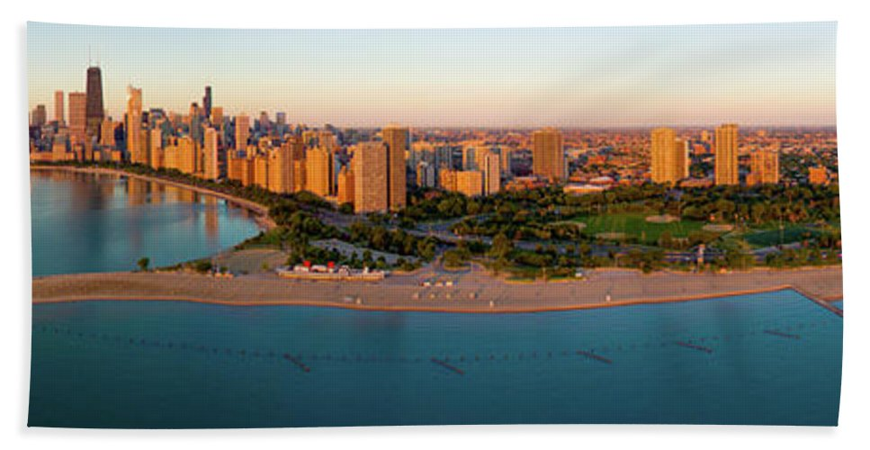 Photography Bath Sheet featuring the photograph Aerial View Of North Avenue Beach by Panoramic Images