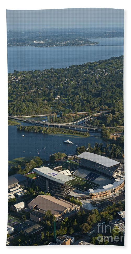 Husky Stadium Bath Sheet featuring the photograph Aerial View Of The New Husky Stadium by Jim Corwin