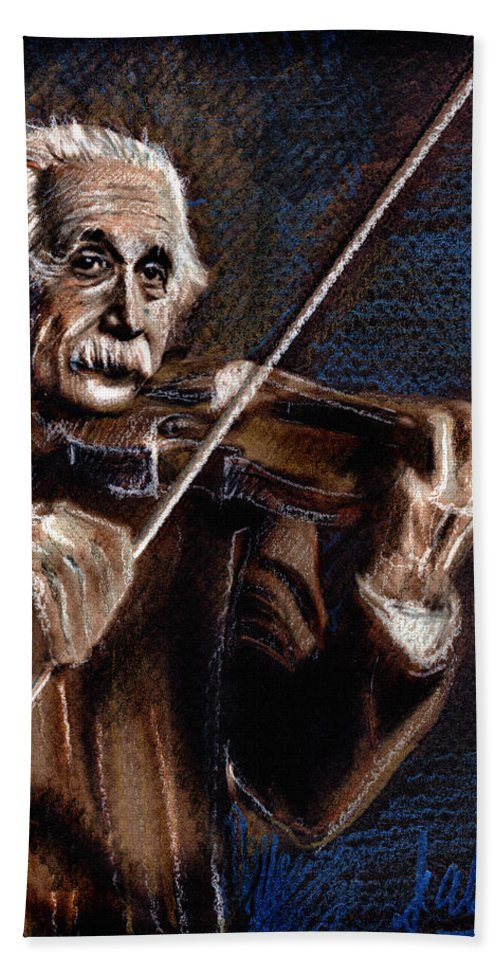 Albert Einstein Hand Towel featuring the drawing Albert Einstein And Violin by Daliana Pacuraru