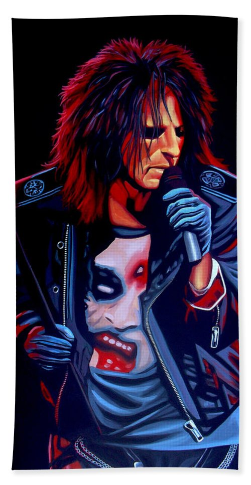 Alice Cooper Bath Towel featuring the painting Alice Cooper by Paul Meijering