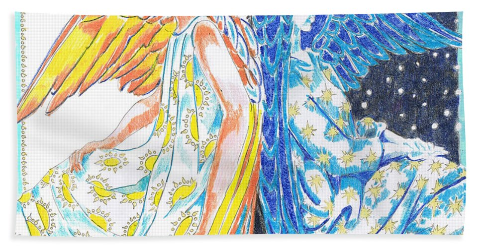 All Day All Night Hand Towel featuring the drawing All Day All Night by Seth Weaver