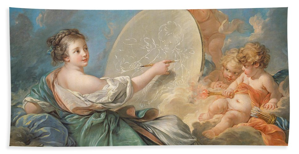 Allegory; Painting; Personification; Allegorical; Putto; Putti; Drawing; Picture; Painting; Artist; Painter; Reclining; Artist's; Tools; Paintbrush; Brushes; Palette; Canvas; Cloud; Clouds; Heavenly; Idyllic; Utopia; Utopian; Rococo; Francois; Boucher; Heaven; Heavenly; Heavens; Cherub; Cherubs; Angels; Angelic; Angel; Sky; Light; Oil; Color; Colour; Illustration; Female; Woman; Children; Girl; Delicate; Women; Cloud; Clouds; Proverb; Proverbs; Zodiac; Astrology; Zodiac Sign; Angel; Painter; Bath Towel featuring the painting Allegory Of Painting by Francois Boucher