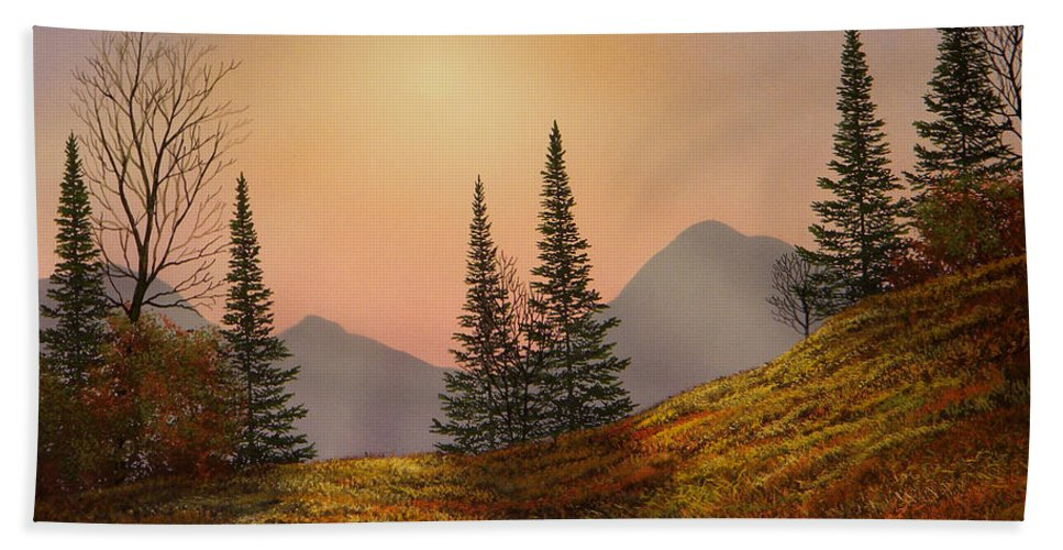 Alpine Sunset Hand Towel featuring the painting Alpine Sunset by Frank Wilson