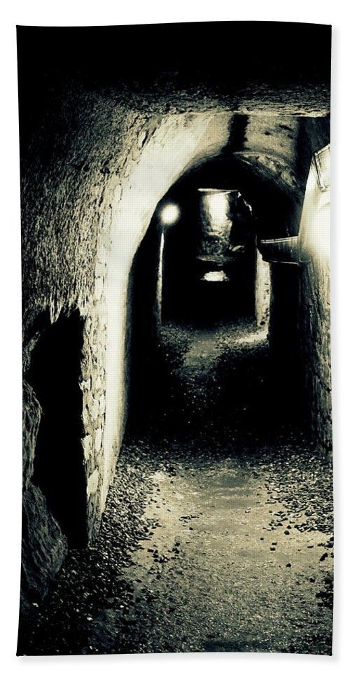 Paris Hand Towel featuring the photograph Altered Image Of A Tunnel In The Catacombs Of Paris France by Richard Rosenshein