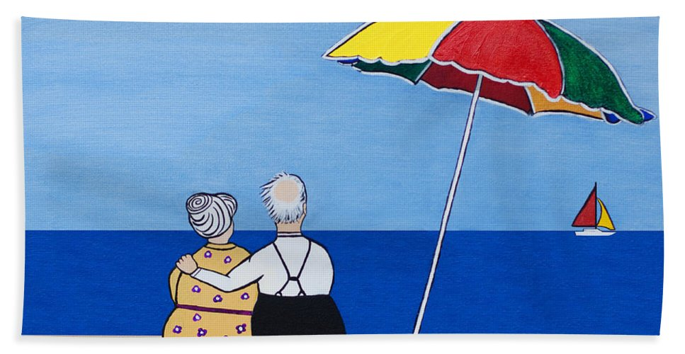 Couple Hand Towel featuring the painting Always Together by Barbara McMahon