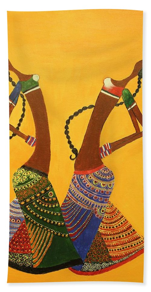 Indian Contemporary Artwork Bath Sheet featuring the painting An Indian Dance Form by Shruti Prasad