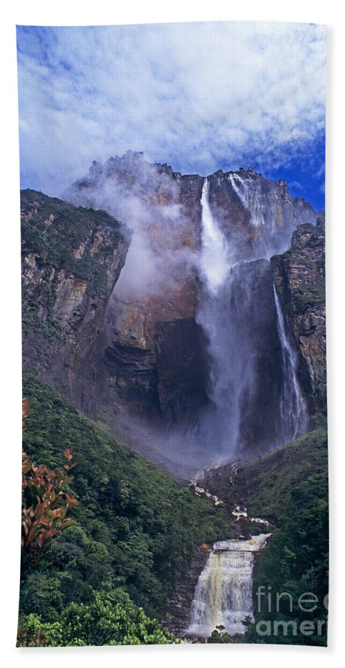 Venezuela Hand Towel featuring the photograph Angel Falls In Canaima National Park Venezuela by Dave Welling
