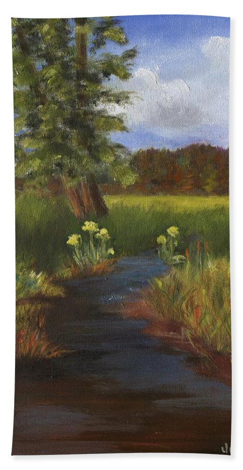 Water Bath Sheet featuring the painting Arizona Stream by Jamie Frier