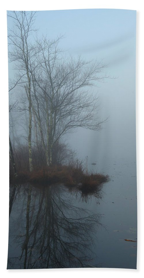 Fog.foggy Bath Sheet featuring the photograph As The Fog Lifts by Karol Livote
