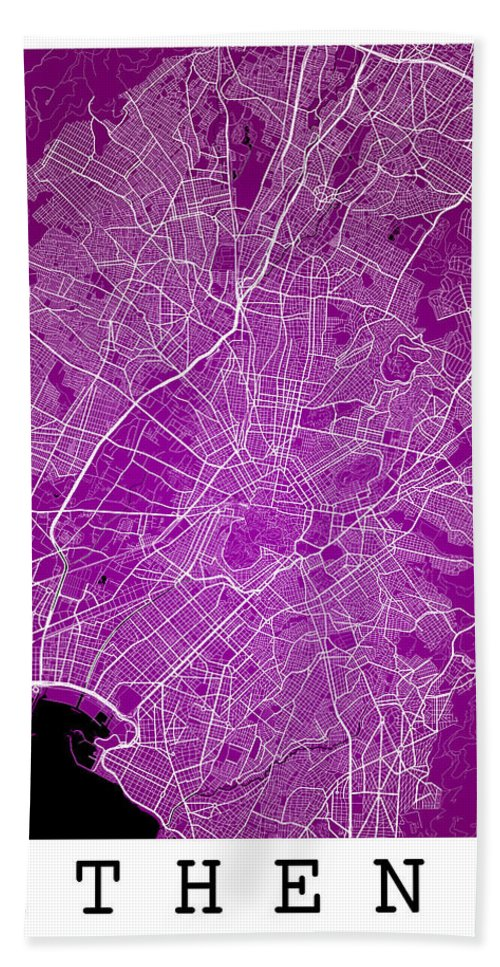 Road Map Hand Towel featuring the digital art Athens Street Map - Athens Greece Road Map Art On Color by Jurq Studio