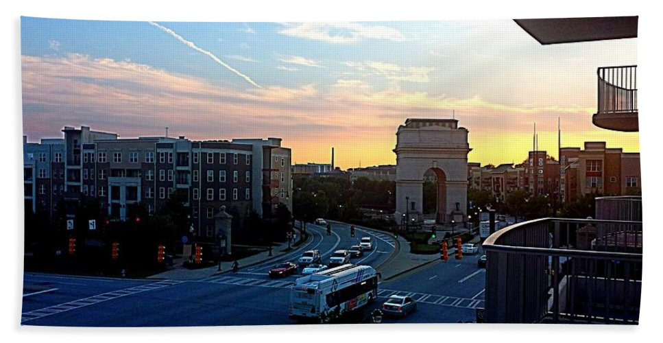 Sunset Bath Sheet featuring the photograph Atlantic Station Sunset Vista by Kenny Glover