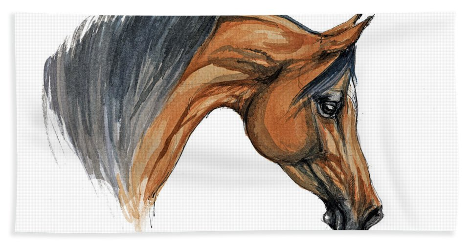 Horse Hand Towel featuring the painting Bay Arabian Horse Watercolor Painting by Angel Ciesniarska