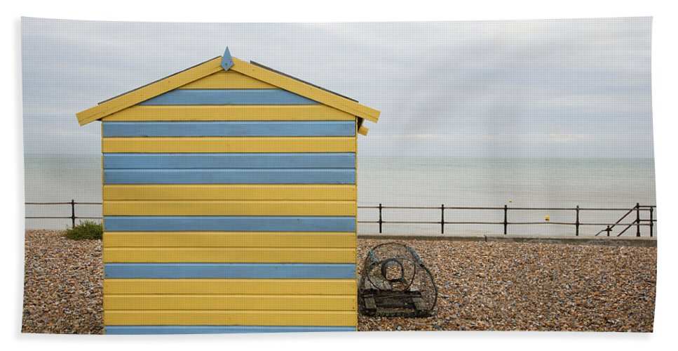 Kingsdown Hand Towel featuring the photograph Beach Hut At Kingsdown by Ian Middleton