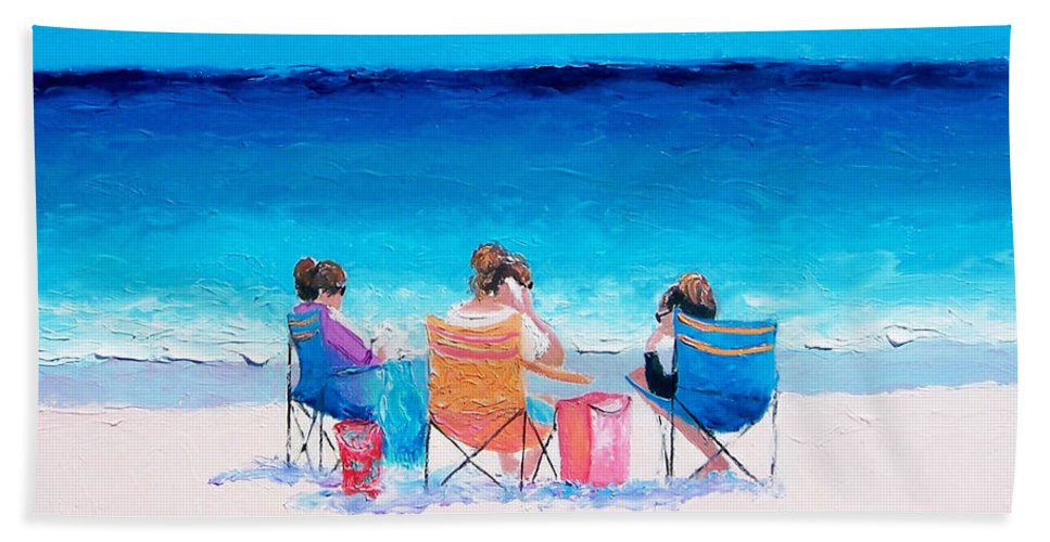 Beach Hand Towel featuring the painting Beach Painting 'girl Friends' By Jan Matson by Jan Matson