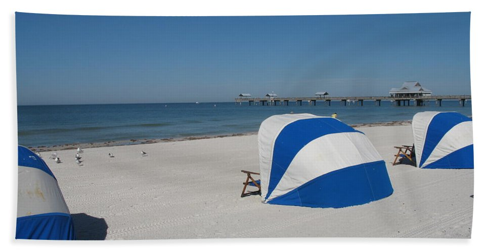 Beach Bath Sheet featuring the photograph Beach With Beachchairs by Christiane Schulze Art And Photography