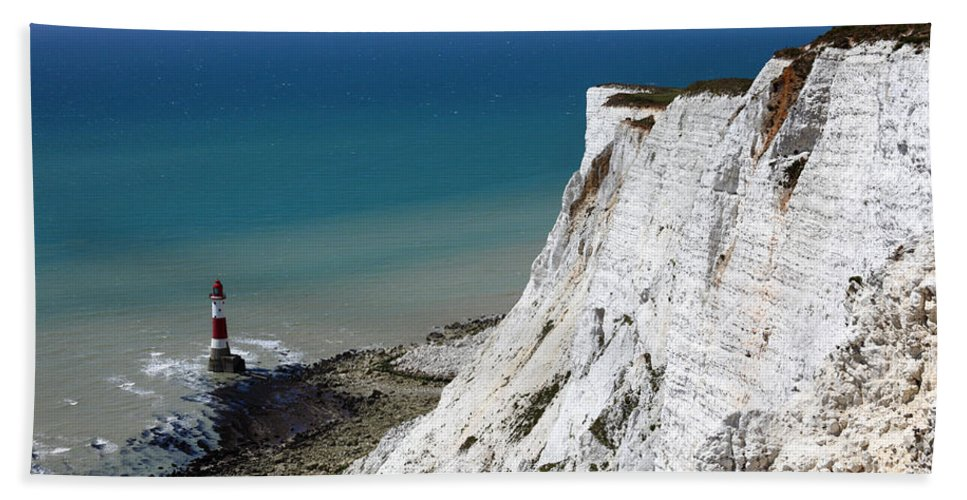Beachy Head Hand Towel featuring the photograph Beachy Head Cliffs And Lighthouse by James Brunker