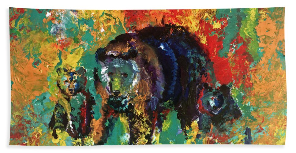 Bears Hand Towel featuring the painting Bear Family by Peter Bonk