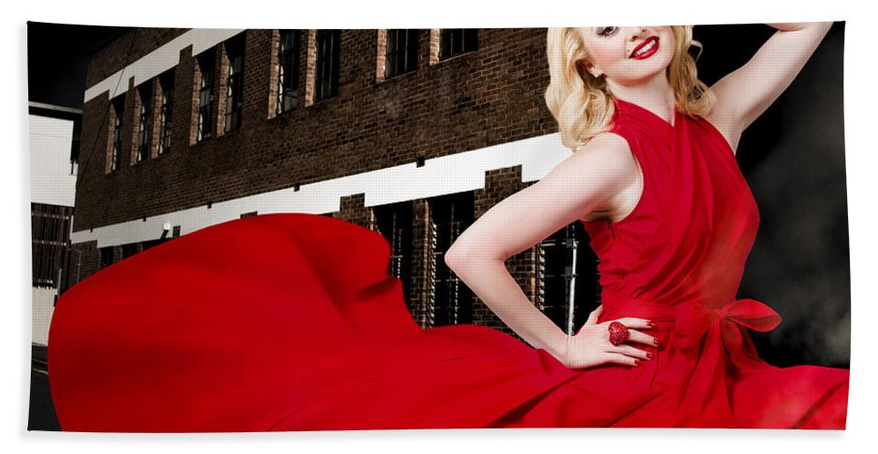 Fashion Bath Sheet featuring the photograph Beautiful Sexy Blond Girl Wearing A Long Dress by Jorgo Photography - Wall Art Gallery