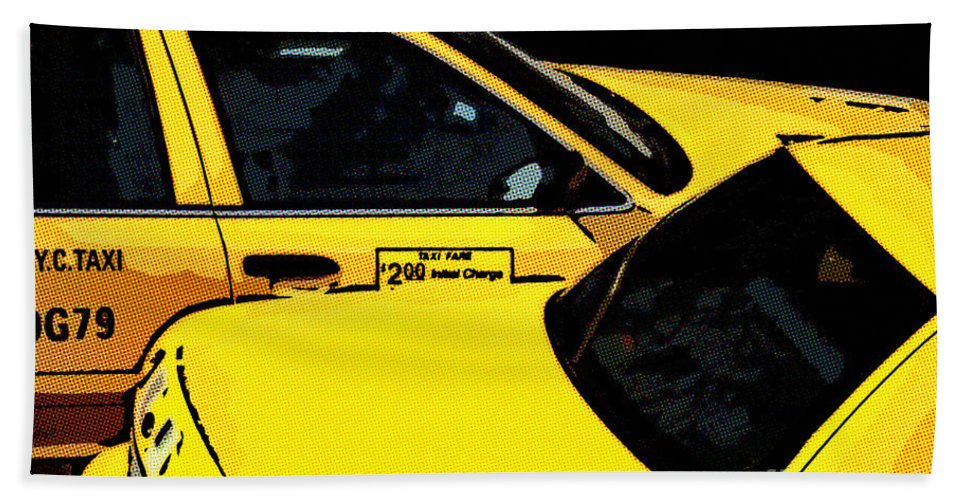 Nyc Taxis Hand Towel featuring the digital art Big Yellow Taxis by Liz Leyden