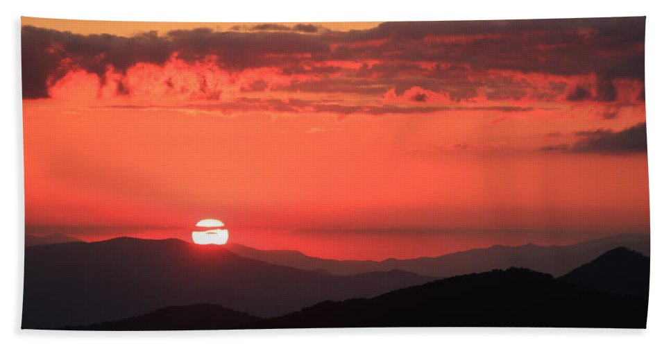 Blue Ridge Parkway Bath Sheet featuring the photograph Blue Ridge Parkway Sunset North Carolina by Mountains to the Sea Photo