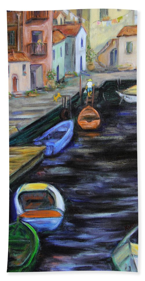 Village Hand Towel featuring the painting Boats In Front Of The Buildings IIi by Xueling Zou