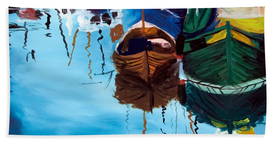 Sailboats Hand Towel featuring the painting 2 Boats by Jennifer Hickman