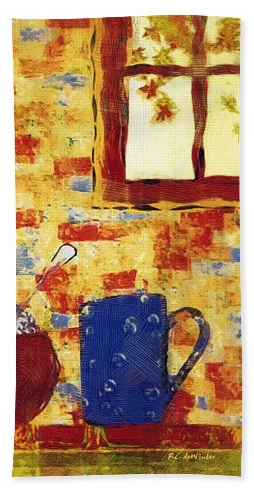 Breakfast Bath Sheet featuring the painting Breakfast With Pearl Jam by RC DeWinter