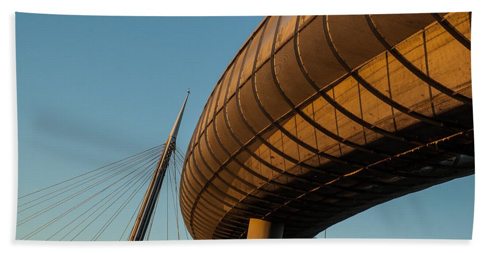 Bridge Hand Towel featuring the photograph Bridges In The Sky by Andrea Mazzocchetti
