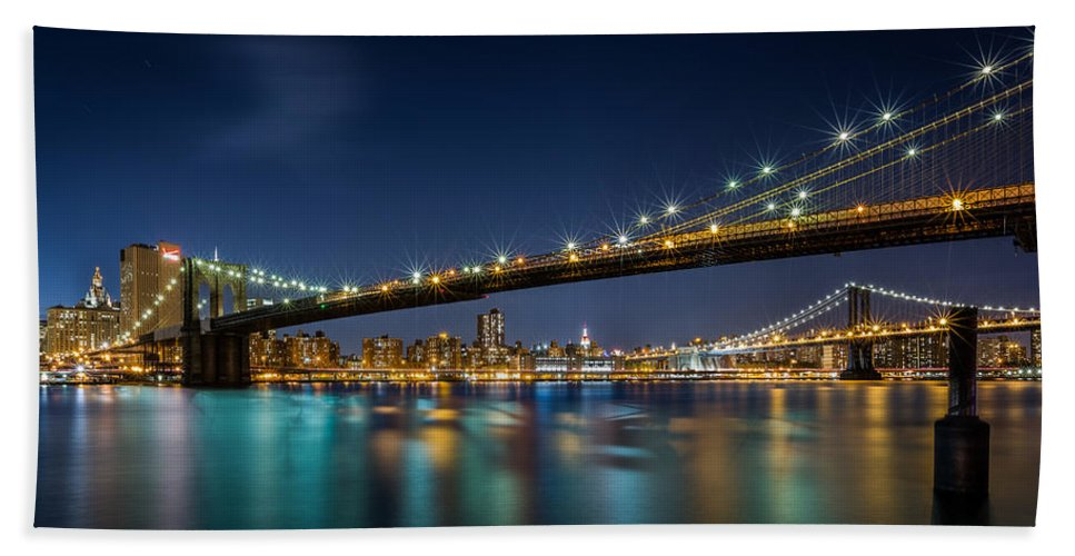 Brooklyn Bath Sheet featuring the photograph Brooklyn Bridge by Mihai Andritoiu