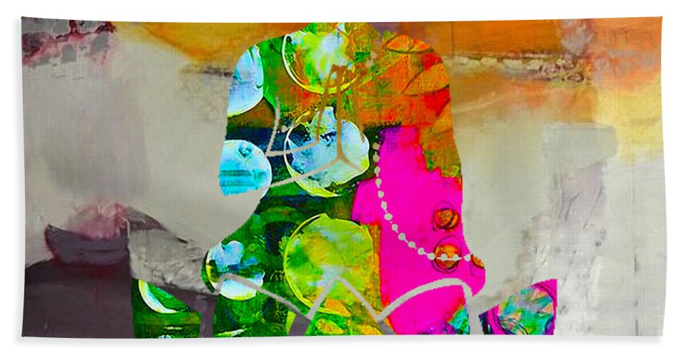 Namaste Paintings Hand Towel featuring the mixed media Buddah On A Lotus by Marvin Blaine