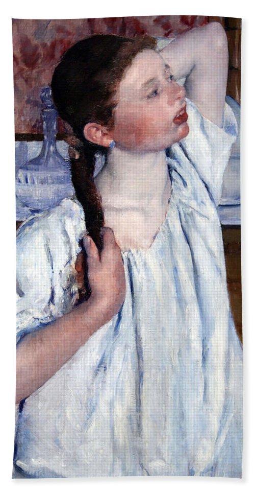 Girl Arranging Her Hair Hand Towel featuring the photograph Cassatt's Girl Arranging Her Hair by Cora Wandel
