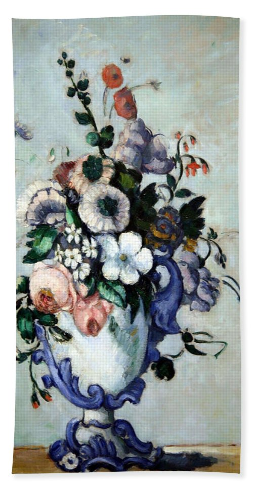 Flowers In A Rococo Vase Bath Sheet featuring the photograph Cezanne's Flowers In A Rococo Vase by Cora Wandel