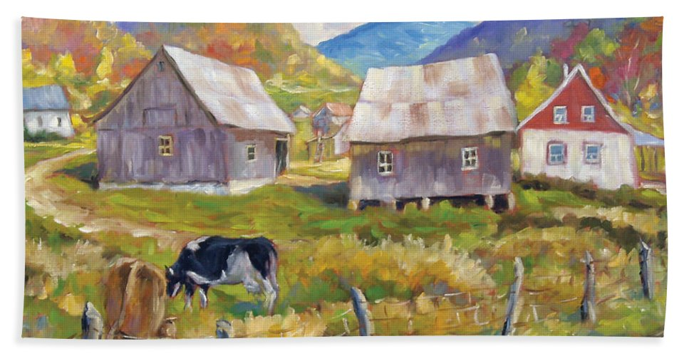 Art Bath Towel featuring the painting Charlevoix North by Richard T Pranke