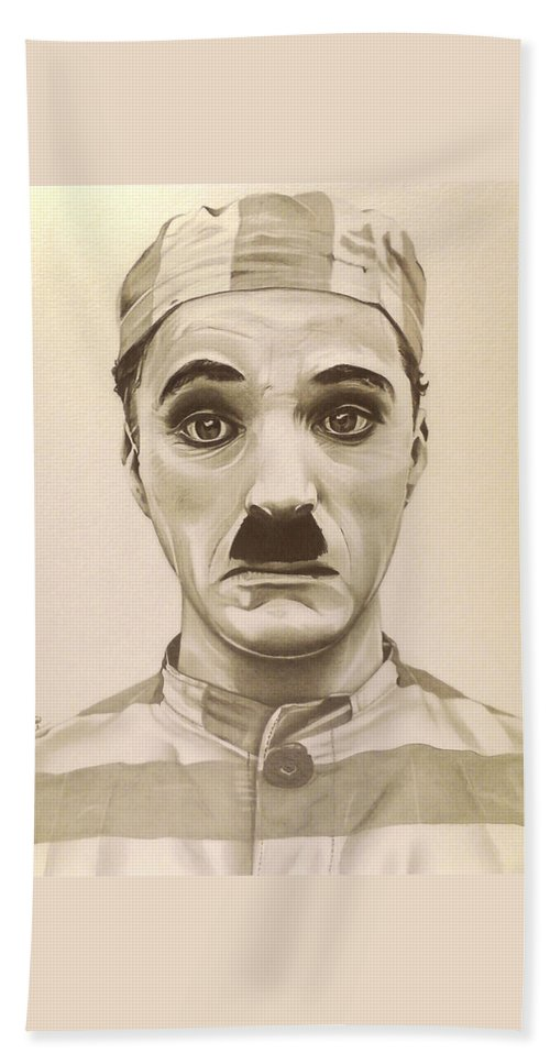 The Adventurer Hand Towel featuring the drawing Vintage Charlie Chaplin by Fred Larucci