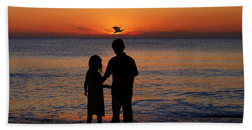 Sunset Hand Towel featuring the photograph Cherish The Moment by John Absher