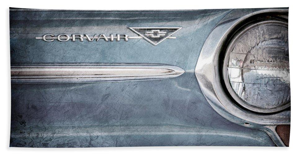 Chevrolet Corvair Emblem Bath Sheet featuring the photograph Chevrolet Corvair Emblem by Jill Reger