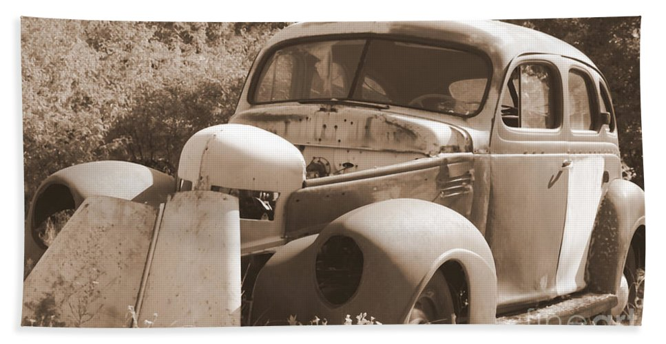 Man Made Hand Towel featuring the photograph Chevrolet Rust Bucket by Glenn Aker