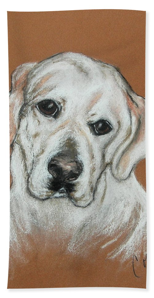Labrador Hand Towel featuring the drawing Chloe by Cori Solomon