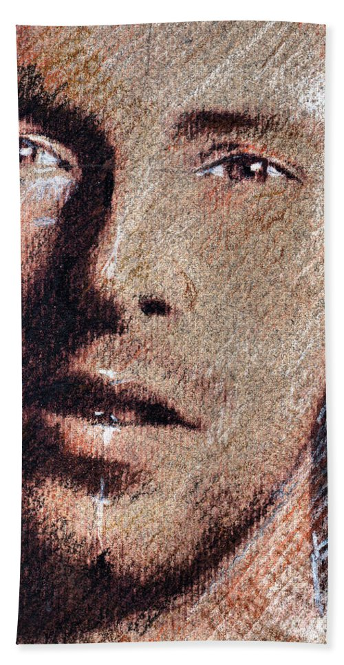 Chris Martin Portrait Hand Towel featuring the drawing Chris Martin - Coldplay by Daliana Pacuraru
