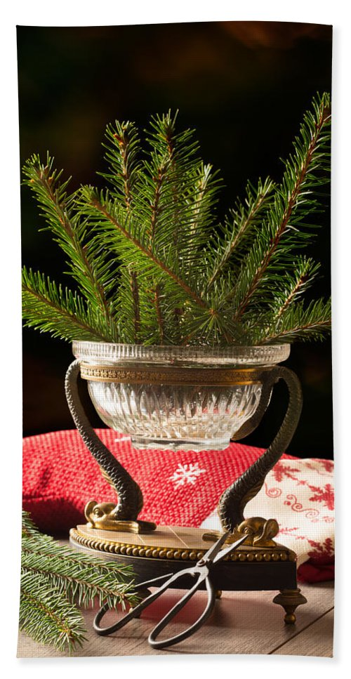 Christmas Hand Towel featuring the photograph Christmas Decoration by Amanda Elwell