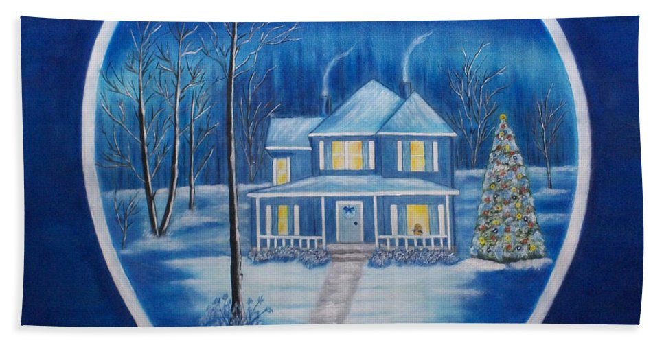 Landscape Hand Towel featuring the painting Christmas In Blue by Brenda Drain