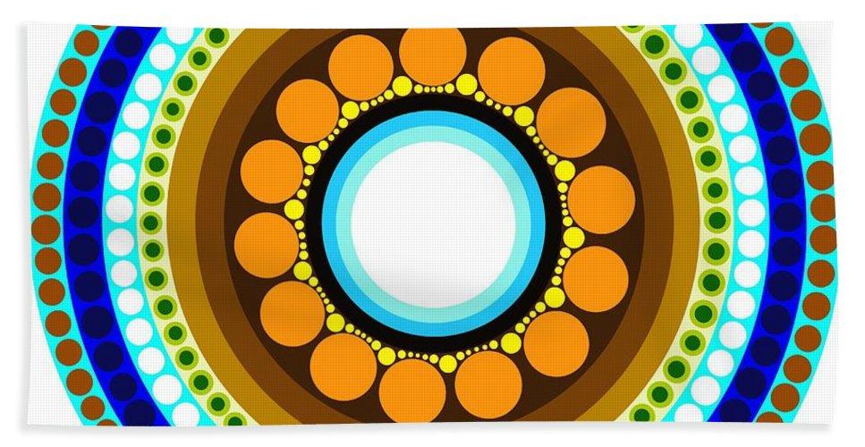 Circle Motif Hand Towel featuring the painting Circle Motif 214 by John F Metcalf