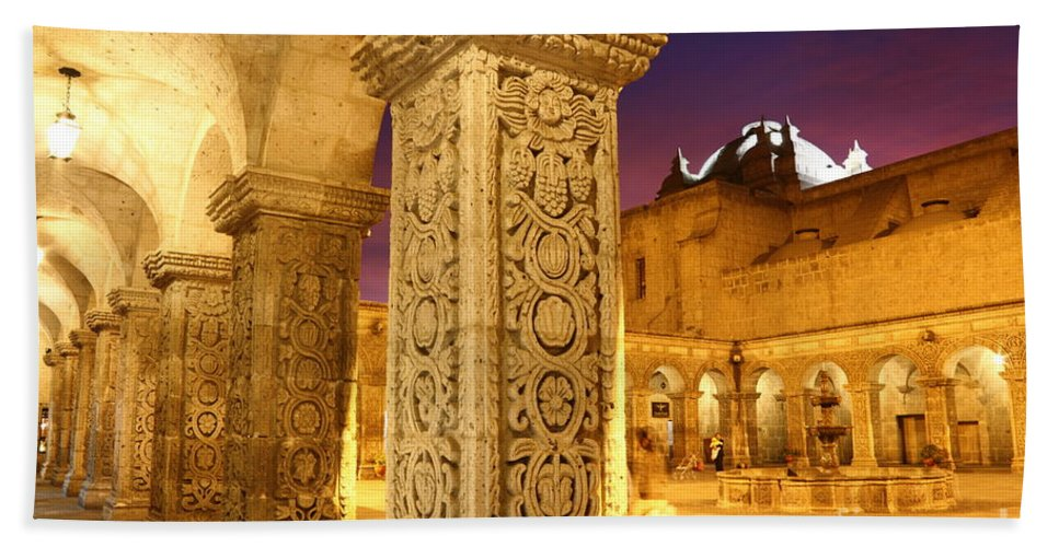 Peru Hand Towel featuring the photograph Cloisters At Sunset Arequipa by James Brunker