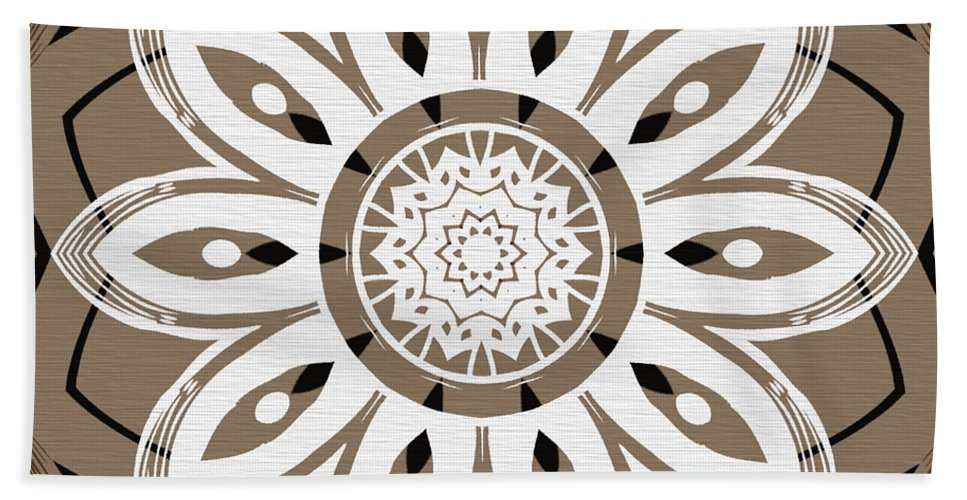Intricate Hand Towel featuring the digital art Coffee Flowers 8 Olive Ornate Medallion by Angelina Vick