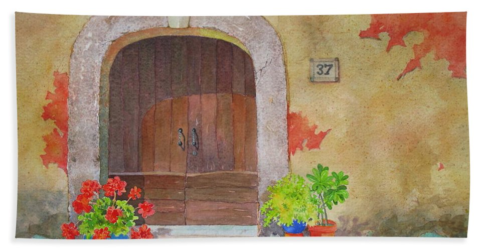 Tuscany Bath Sheet featuring the painting Color Me Tuscany by Mary Ellen Mueller Legault