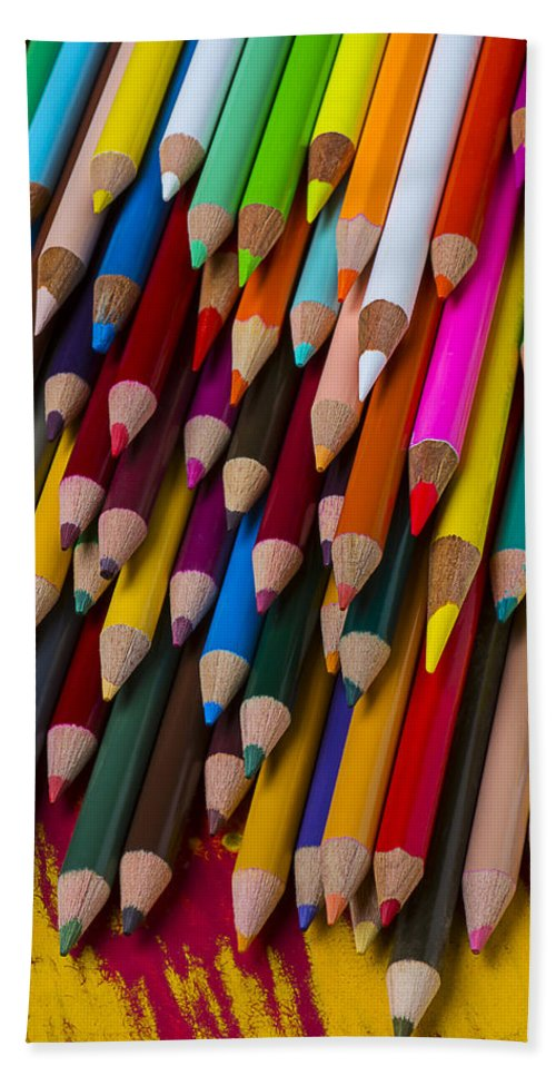 Colored Hand Towel featuring the photograph Colored Pencils by Garry Gay